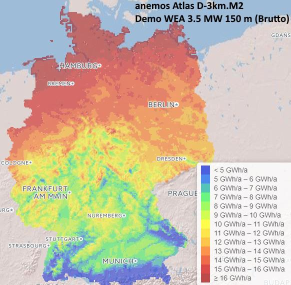 energy yield Germany 3km.M2